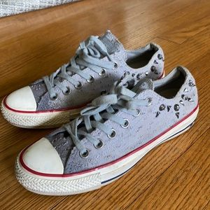 Gray canvas studded Converse sneakers
